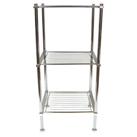 Organize It All 3 Tier Chrome Freestanding Metro Bathroom Storage Shelf