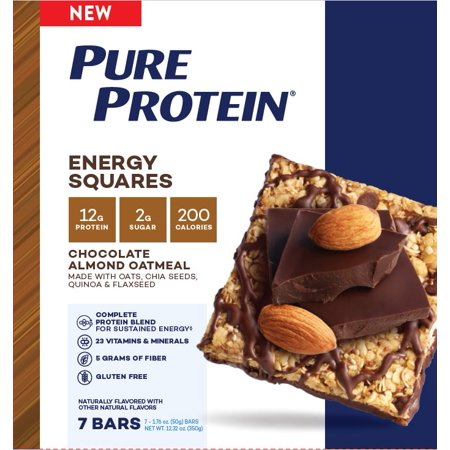 Pure Protein Energy Squares, Chocolate Almond Oatmeal, 12g Protein, 7 Ct