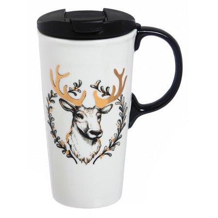 Darby Home Co Sketch Deer 17 Oz  Ceramic Travel Mug