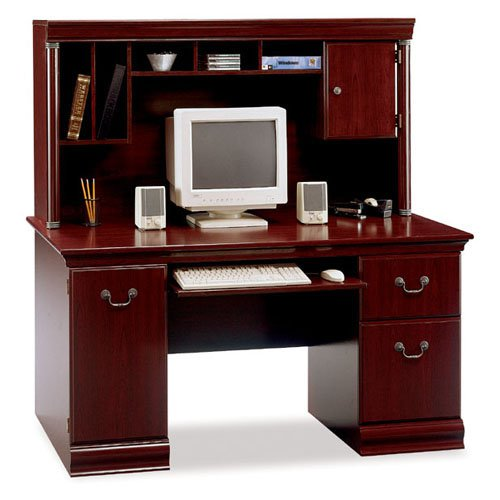 Birmingham Computer Desk with Hutch - Harvest Cherry