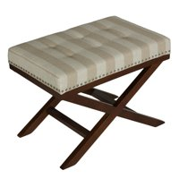 Cortesi Home  X-shape Sandy Beach Striped Bench Ottoman