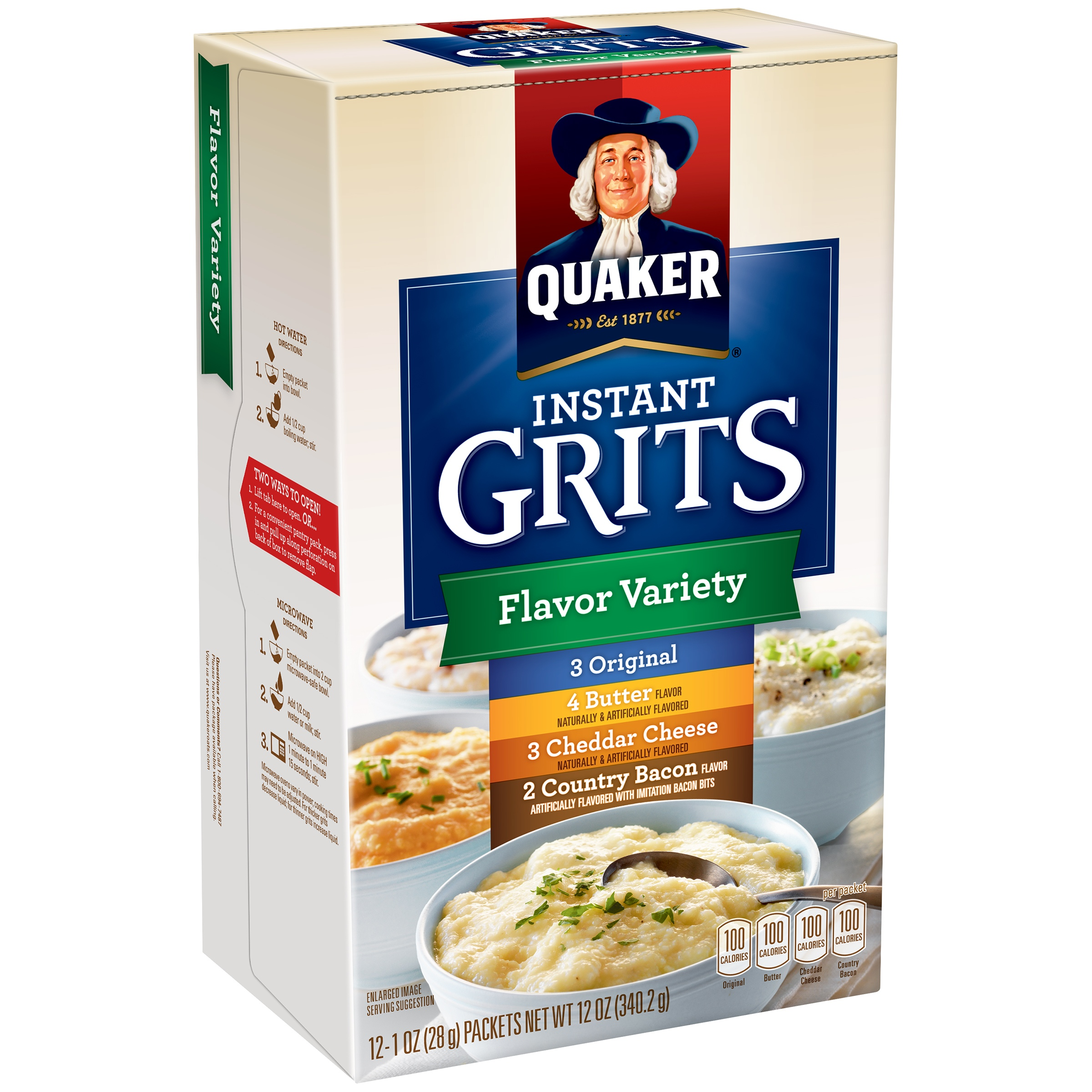 Quaker® Instant Grits Flavor Variety, Original, Butter, Cheddar Cheese, and Country Bacon, 12 Count, 1 oz. Packets