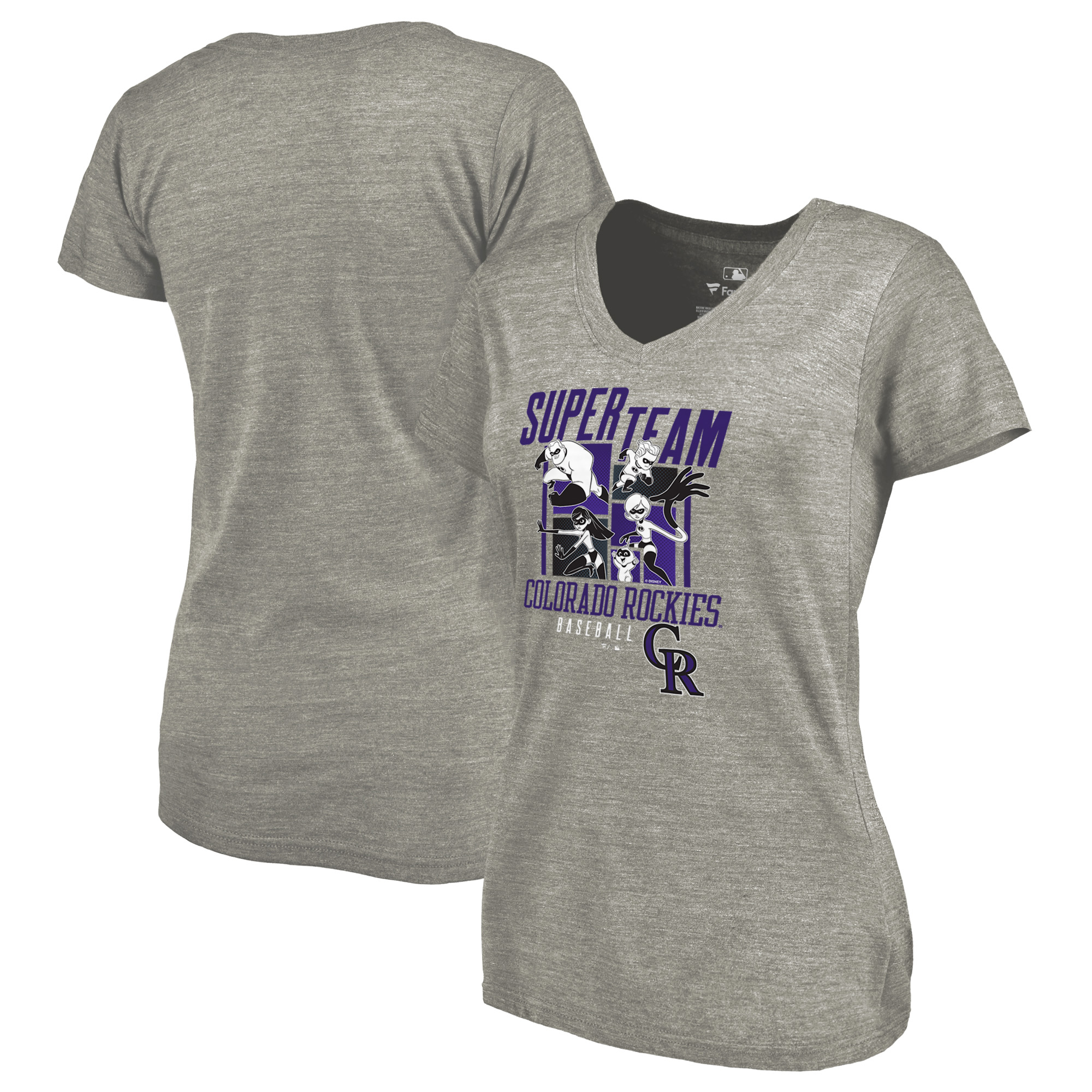 Colorado Rockies Fanatics Branded Women's Disney Pixar Incredibles Super Team Tri-Blend V-Neck T-Shirt - Heathered Gray