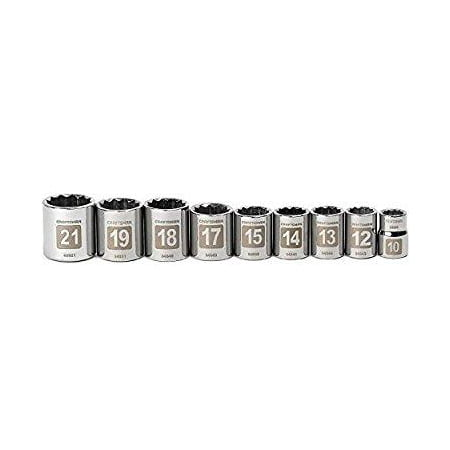 Craftsman 9 pc. Metric Easy to Read Socket Accessory Set, 12 pt. Standard, 3/8 in. Drive 9-34566
