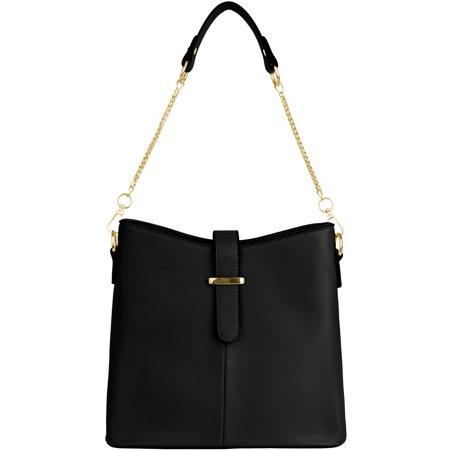 Women's Serena Leatherette Buckle Shoulder Bag