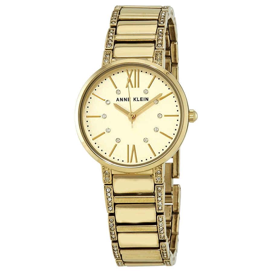 Anne Klein Crystal Champagne Dial Ladies Watch AK/3200CHGB