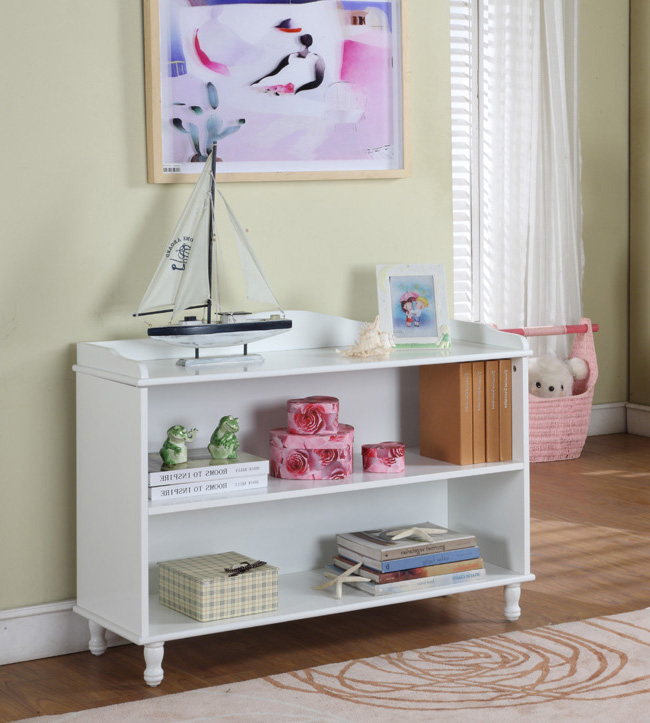 Marie White Wood Kids 3 Tier Bookcase Display Storage Cabinet With Shelves