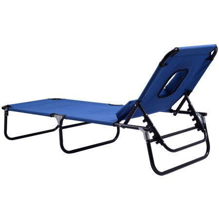 Patio Foldable Chaise Lounge Chair Bed Outdoor Beach Camping Recliner Pool Yard ()