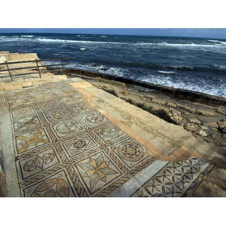 Mosaic at the Seaward Bath, Roman Site of Sabratha, UNESCO World Heritage Site, Libya Print Wall Art By Ethel Davies