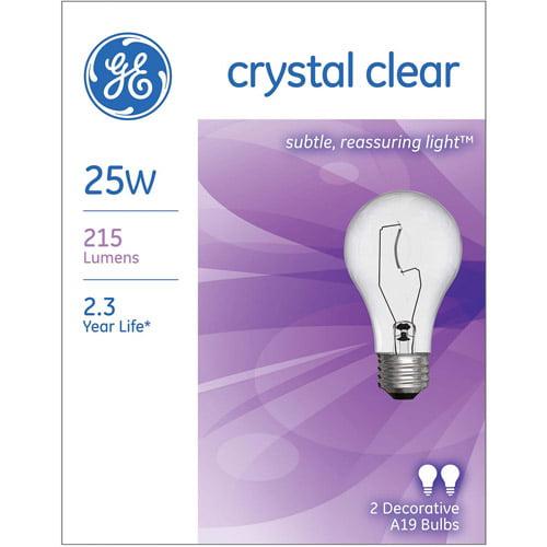 GE 2pk 25W Crystal Clear Light Bulb - Walmart.com