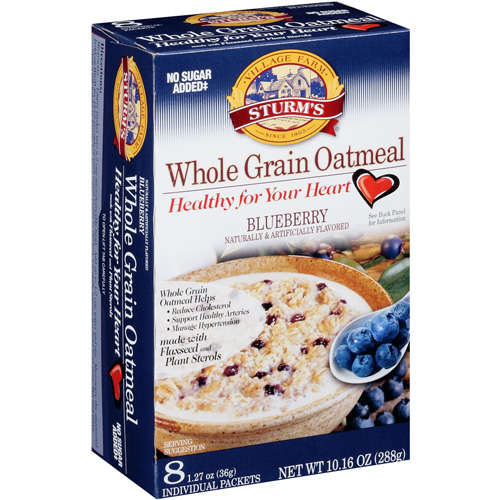 Sturm's Village Farm Healthy For Your Heart Whole Grain Blueberry Oatmeal, 1.27 oz,/8ct