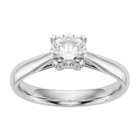 Radiant Fire® Lab Grown 1/4 Ct Round Diamond Solitaire Engagement Ring, SI2 clarity, D E F color, in 14K White Gold
