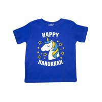 Happy Hanukkah Unicorn in Gold and Yellow with Stars Toddler T-Shirt