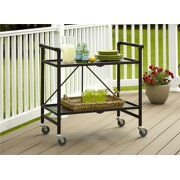Cosco Outdoor Living INTELLIFIT Outdoor Or Indoor Folding Serving Cart With 2 Slatted Shelves, Apple Green