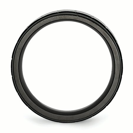 Stainless Steel Brushed Black Plated 9mm Wedding Ring Band Size 9.00 Fancy Fashion Jewelry For Women Gifts For Her - image 7 of 10
