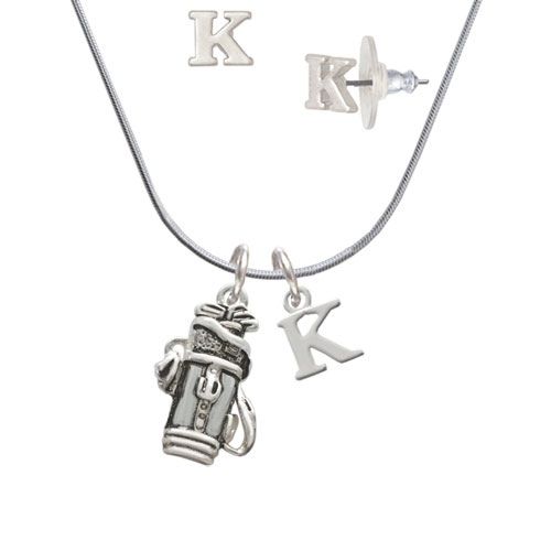 Golf Club Bag K Initial Charm Necklace and Stud Earrings Jewelry Set by Delight and Co.