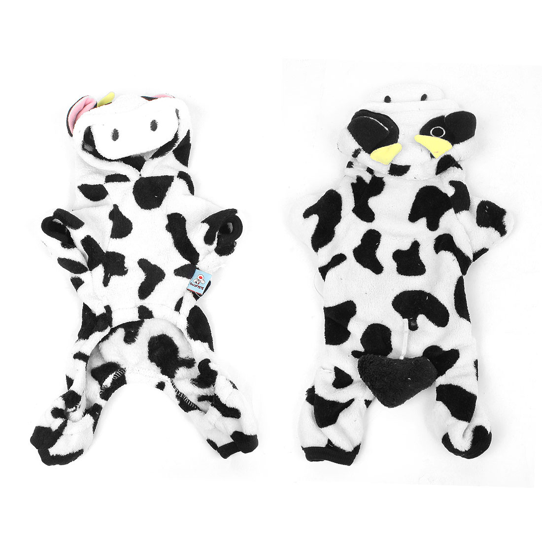Winter Plush Cow Pattern Hooded Sleeves Pet Dog Doggie Clothes Coat Size XS - image 1 of 1