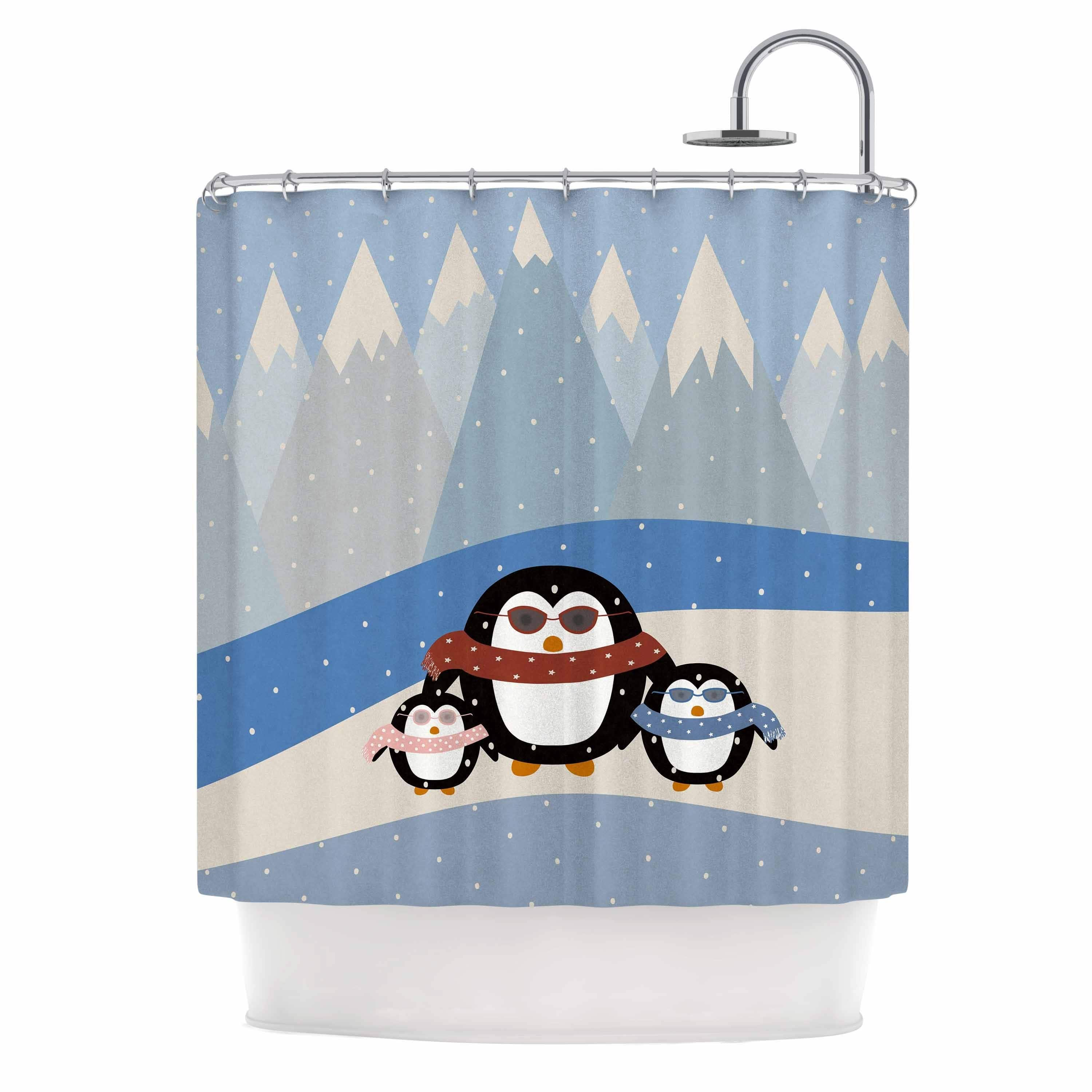 Kess InHouse  Cristina bianco Design Cute Penguins Black ...