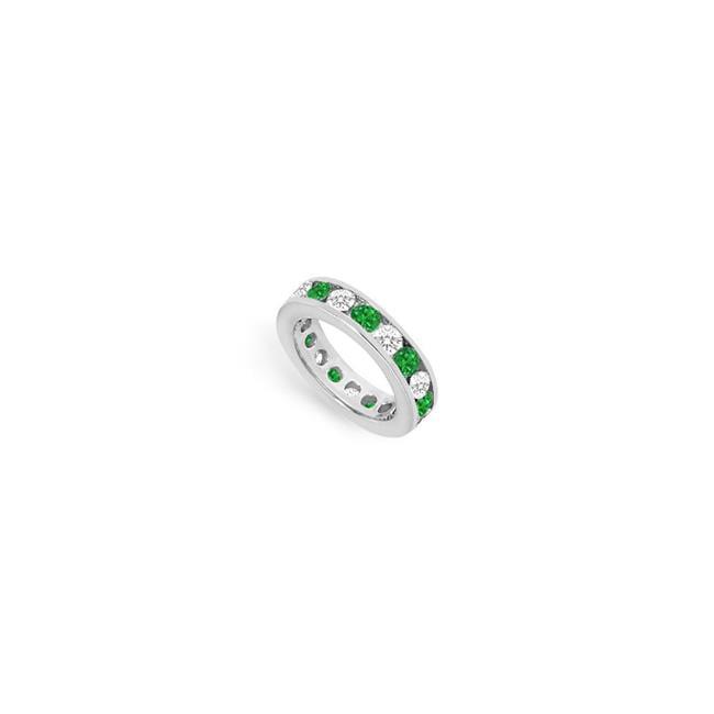18k White Gold 3 Ct Tgw Diamond Emerald Eternity Band For Third