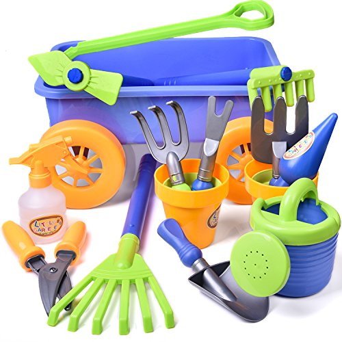 Kid's Garden Tool Toy Set Beach with Wagon Birthday Party Gardening Educational Play Set with Watering Can, Shovels,Rakes, Bucket,Spray Bottle,Scissor, and 4 Castle Molds Packaged 15 PCs F-132