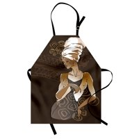 African Woman Apron Sketch of Stylish Pretty African Lady Ancient Ethnic Geometric Doodles, Unisex Kitchen Bib Apron with Adjustable Neck for Cooking Baking Gardening, Brown Grey Gold, by Ambesonne
