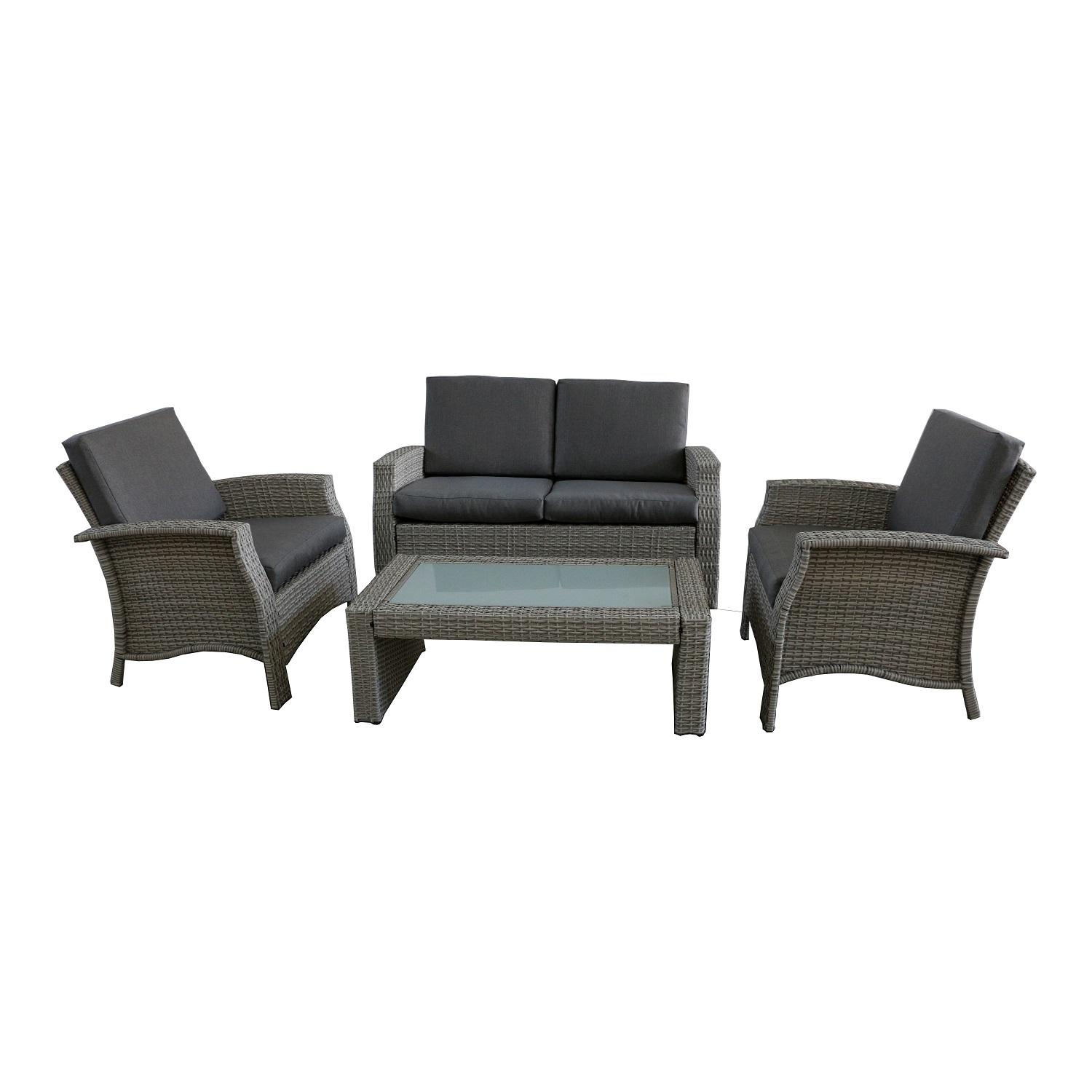 Good 4 Piece Gray Resin Wicker Outdoor Patio Furniture Set   Gray Cushions Part 29