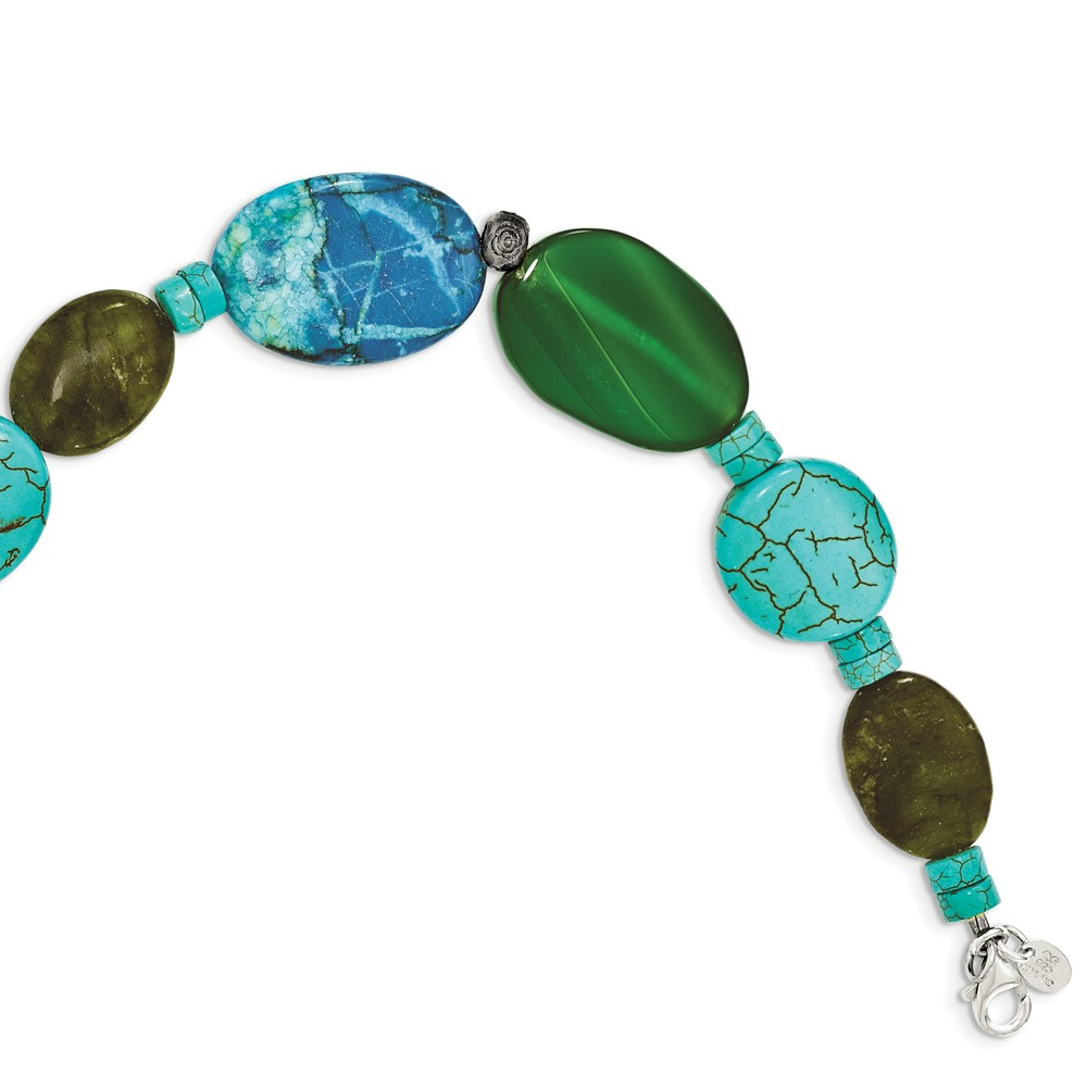 Sterling Silver 8in Green Agate/Crazy Lace Jasper/Howlite/Turquoise Bracelet