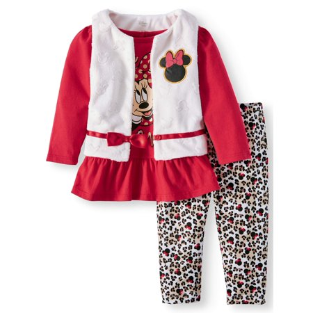 Minnie Mouse Faux Fur Vest, Long Sleeve Peplum Tunic & Leggings, 3-Piece Outfit Set (Baby Girls)