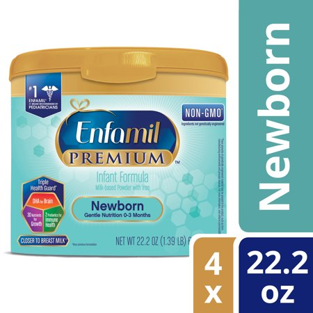 Enfamil Newborn PREMIUM Infant Formula (4 Pack) Powder 22.2 Ounce Reusable