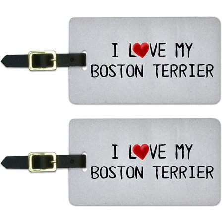 I Love My Boston Terrier Written on Paper Luggage Suitcase ID Tags, Set of 2 ()
