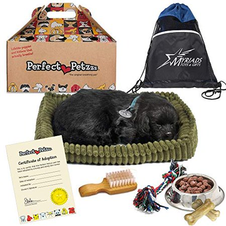 Lab Dog Plate - Perfect Petzzz Plush Black Lab Breathing Puppy Dog with Dog Food, Treats, and Chew Toy Includes Myriads Drawstring Bag
