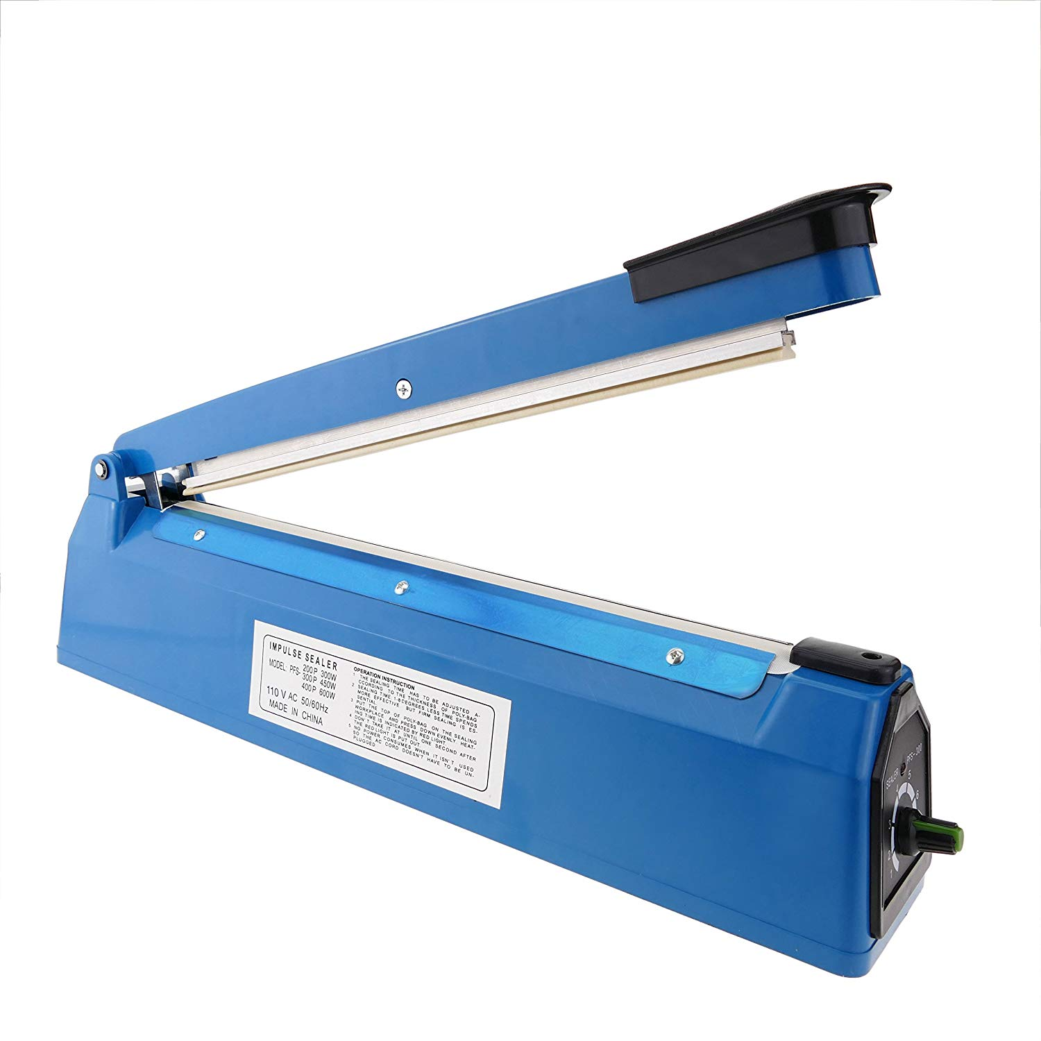 """Zimtown 12"""" Impulse Manual Hand Sealer, Heat Sealing Packing Machine for Healing Poly Tubing Plastic Bag, with Spare Teflon & Sealing Elements, Auto LED Shut-off Indicator Light"""
