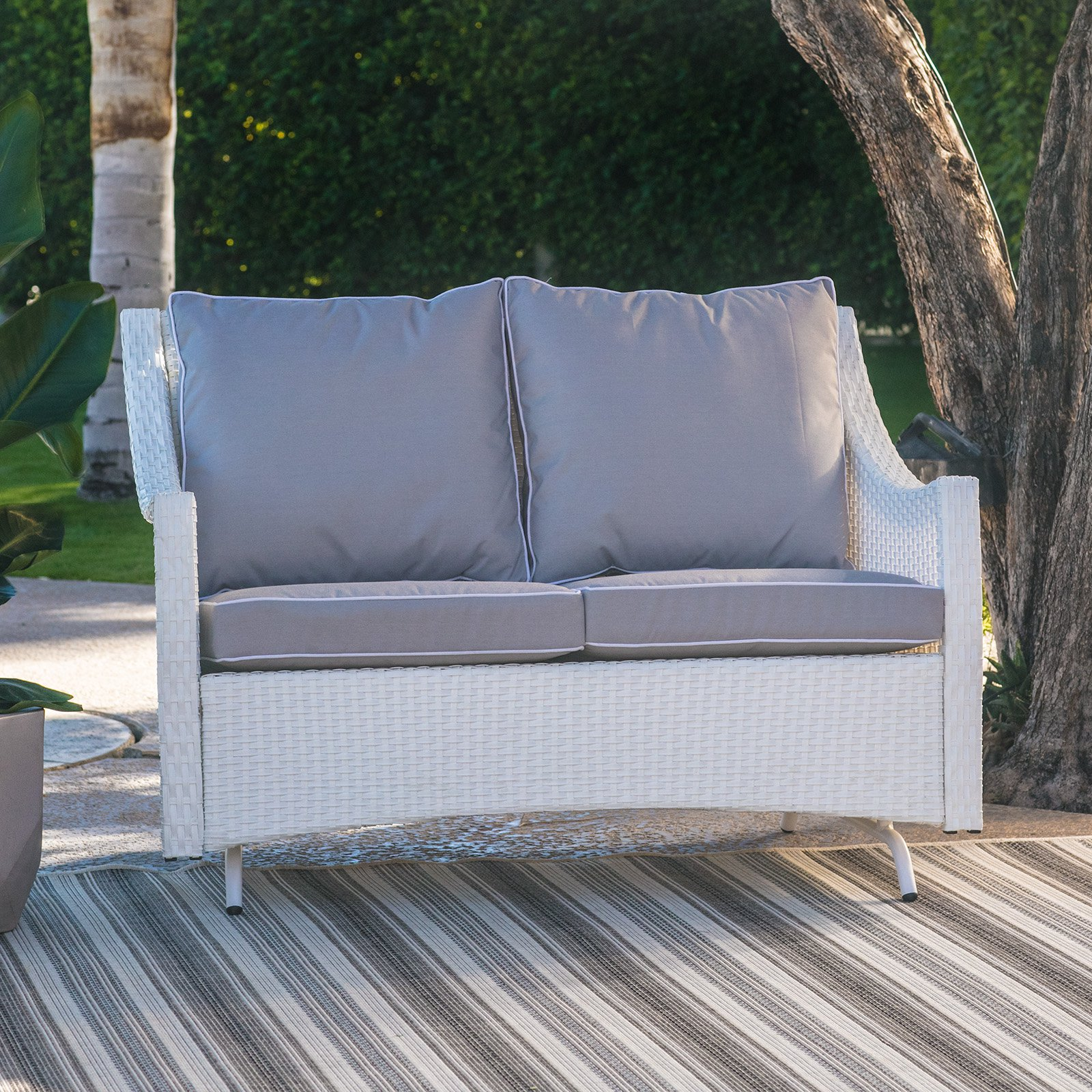 Belham Living Lindau All Weather Wicker Patio Loveseat Glider With Cushion    White