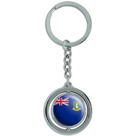 Silver British Virgin Islands - The British Virgin Islands National Country Flag Spinning Round Metal Key Chain Keychain Ring