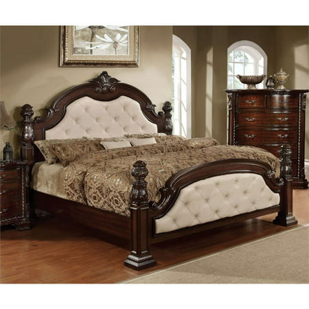 Furniture of America Cathey California King Poster Bed in Dark (California King Poster Bed)
