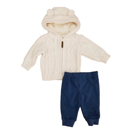 Carters Infant Boys 2-Piece Cable Knit Hoodie & Pants Set