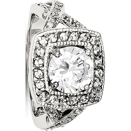 Sterling Silver Rhodium-plated Round 8.10mm CZ Ring - image 2 de 2