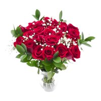 Valentines Day Two Dozen Red Rose Bouque with Vase