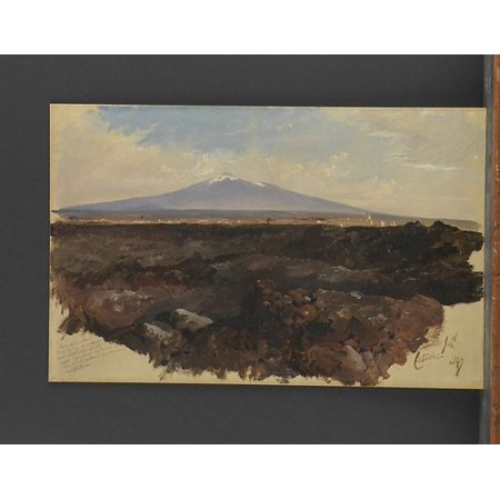 Catania And Mount Etna Poster Print By Edward Lear  British London 1812   1888 San Remo   18 X 24