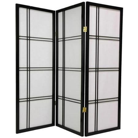 4 ft. Tall Shoji Privacy Screen w Strong Shade (4 Panels / Black) ()