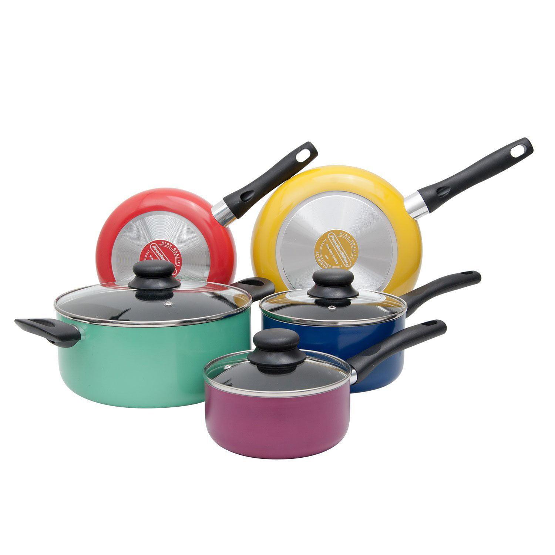 Proctor Silex 8 Piece Multi Color Aluminum Kitchen Pots & Pans Cookware Set by Proctor Silex