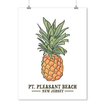 Pt. Pleasant Beach, New Jersey - Pineapple - Icon - Lantern Press Artwork (9x12 Art Print, Wall Decor Travel Poster)