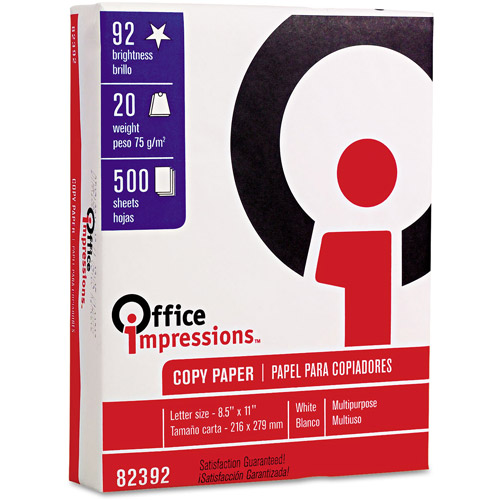 "Office Impressions 8-1/2""x11"" Bulk Copy Paper, Case of 10 Reams (500 Sheets Per Ream)"