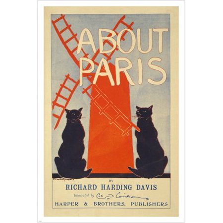 About Paris Richard Harding Davis Vintage Book Poster 1895 24X36 Cats (Ricard Poster)