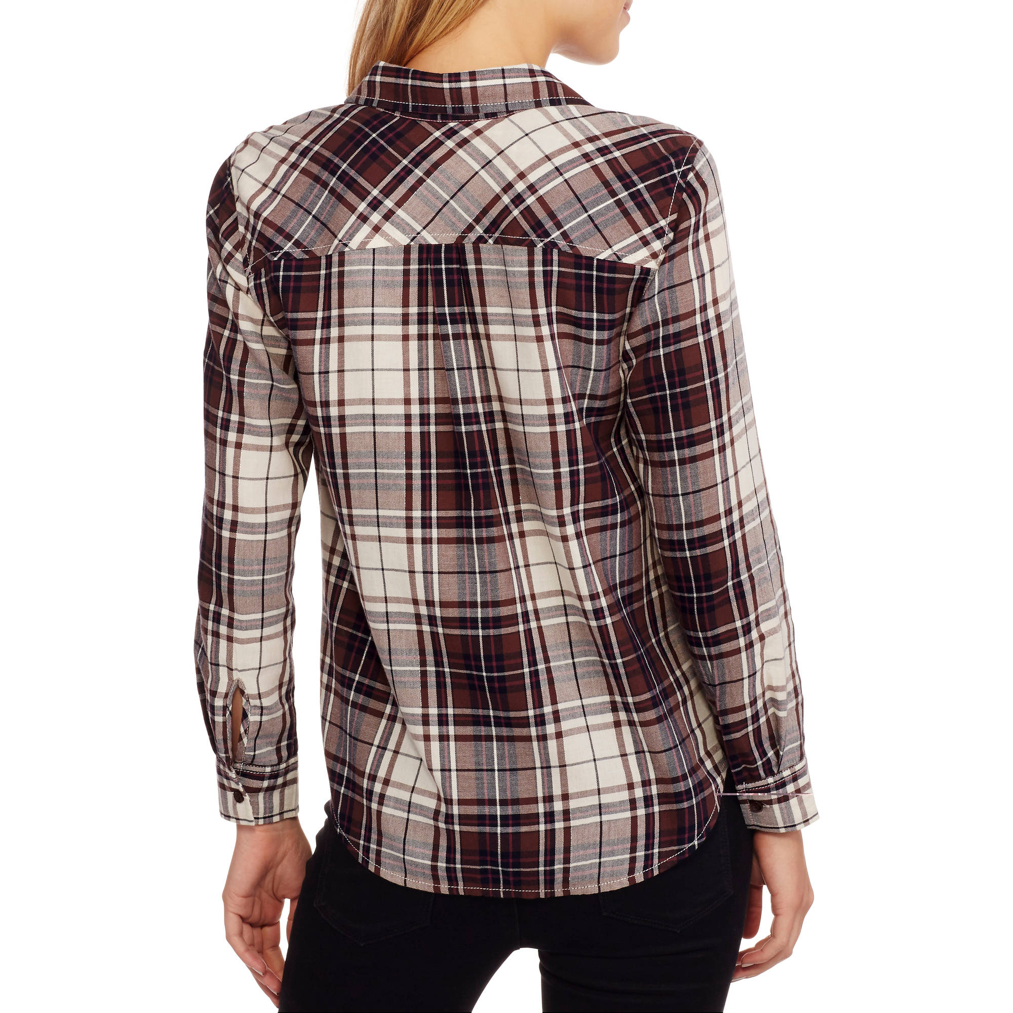 Womens long sleeve classic button down plaid shirt pockets for Plaid button down shirts for women