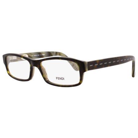 Fendi Rectangular Eyeglasses F826M 345 Size: 54mm Dark Green Horn (Fendi Eyeglasses Men)
