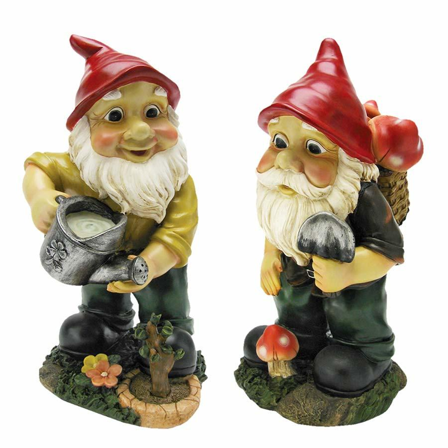 Design Toscano Gulliver and Mushroonie Garden Gnome Statues Set of 2 by