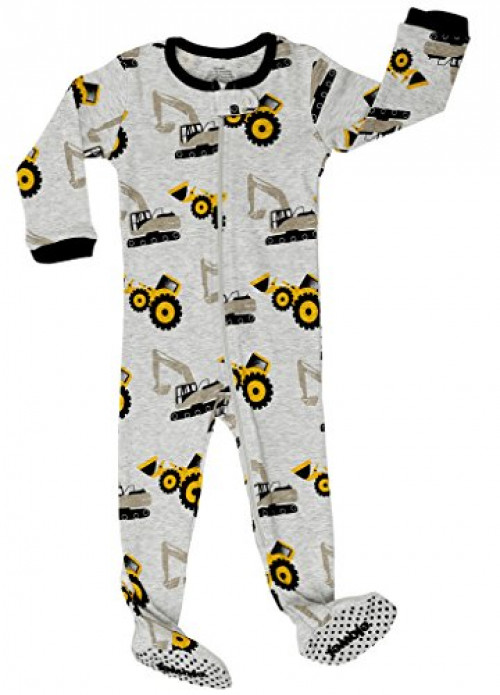 "Elowel footed ""Bulldozer"" pajama sleeper 100% cotton 12-18 Months, Grey"