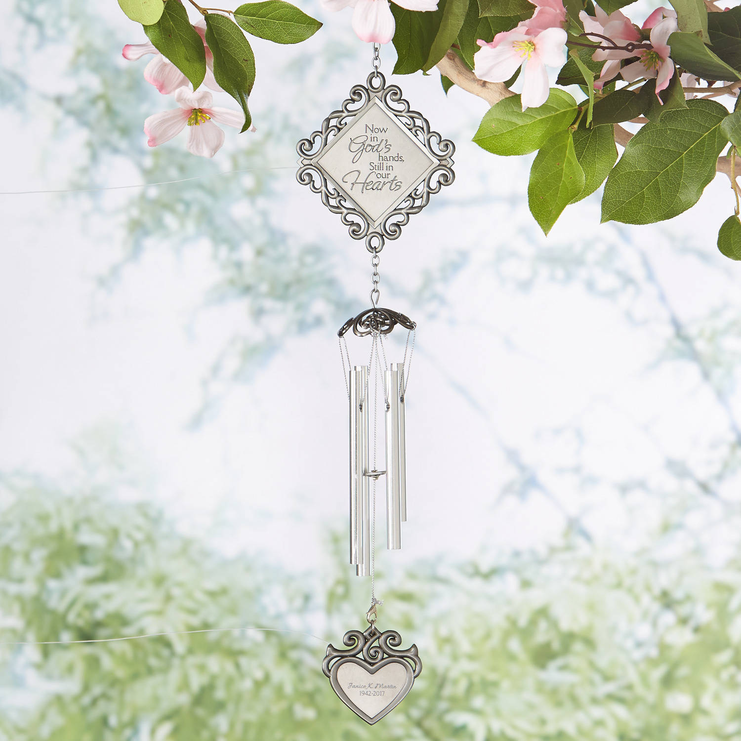 Personalized In God's Hands Memorial Windchime