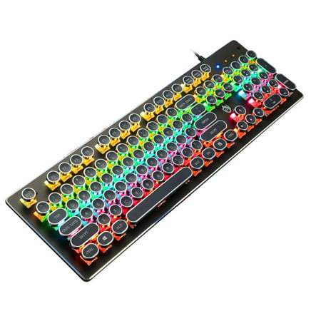 Ametoys Illuminated Mechanical Keyboard 104 Keys Gaming Keyboard USB Powered Operated 9 Vivid Lighting Effects for Computer Laptop E-sports Trip Travel Portable